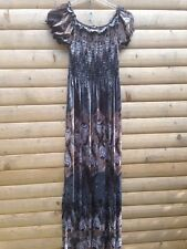 Yege River Island Style Maxi Summer Beach Cover Peacock Feather Dress S M 10 12