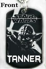 STAR WARS YODA - Dog tag Necklace or Key chain + PERSONALIZE W/ YOUR NAME