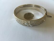 """VINTAGE Heavy PORTUGESE Sterling Silver 833 CHASED Repousse Cuff Bracelet 7.5"""""""