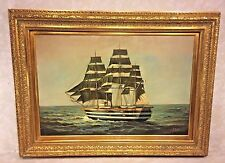Vintage F Harvey Oil On Canvas of French Clipper Ship Signed Lower Right