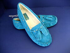 Coach Anita Moccasin Embossed Signature Suede Slippers Tourmaline US Size 6.5