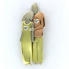 Far Fetched COUPLE PIN Brooch Mima & Oly Family Man Woman Silver Brass Copper