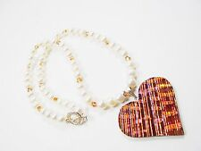 DESIGNER Art Glass Heart White FW Pearl Swarovski Beads Sterling Silver Necklace