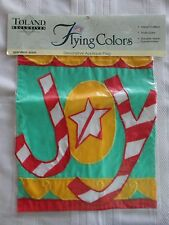 TOLAND CHRISTMAS JOY Applique Garden Flag 11 x 15  NEW