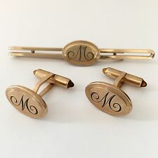 Krementz Cufflinks Tie Clip Bar Set Engraved Initial M Amber Tips Vintage Gold F