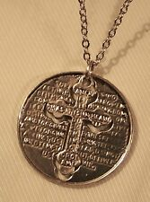 Lovely Silvertone 2-Part Our Father Lords Prayer Cross Dangle Medal Necklace