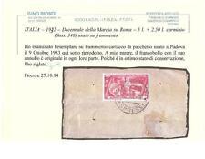 ITALIA–1932–Decennale della Marcia su Roma–5l. + 2,50 l. carminio,su frammento.