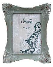 VINTAGE STYLE GREY/BLUE WOODEN PHOTO FRAME - LARGE -TAKES 13 X 18 CM PHOTO