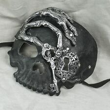 Halloween Skull Full Face Masquerade Costume Party Mask with High Detail - Black