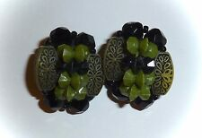 VINTAGE - CARVED GREEN & FACETED BLACK BLEAD CLUSTER CLIP-ON EARRINGS