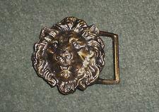 Men's Vintage Gold Tone Lions Head Three Dimensional Ornate Belt Buckle, GUC!