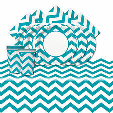 Caribbean Blue Chevron Birthday Supplies Tableware Decoration Party Pack For 8