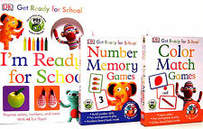 GET READY FOR SCHOOL Color Match & Number Memory Games, Ready for School 3pk NEW