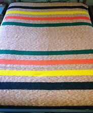 "Vintage Blanket Wool or Wool Blend Multi Color Striped 85"" x 65"""