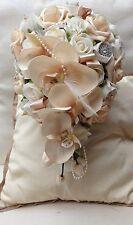 Antiguo Beige Melocotón Orquídea Flores De Boda Marfil Rosas Ramo de lágrima Novias