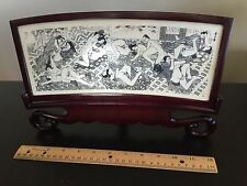 FINE ANTIQUE RARE JAPANESE SHUNGA CARVED EROTICA SEX ART PANEL FRAMED WOOD WOW