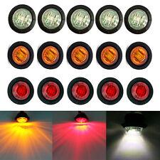 """15X Red / Amber / White Mini 12V 3/4"""" Side 3 LED Marker Trailer Bullet Light"""