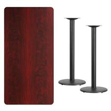 30'' X 60'' RECTANGULAR MAHOGANY LAMINATE TABLE TOP WITH 18'' ROUND BAR HT BASES