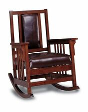 Mission Style Oak Finish and Leather Match Rocker Rocking Chair 600058