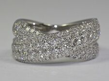 14k White Gold White Round Diamond BIG X Shaped Ring 1.70CT Ring Size 7