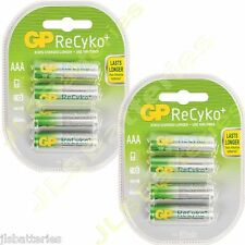 8 x AAA GP Rechargeable 800 mAh recyko Batteries  800mAh (2 x 4 packs)