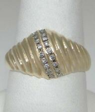 LADIES 10K YELLOW GOLD 1/5ct CHANNEL SET DIAMOND DOME SHELL BAND RING 7 3/4 12mm