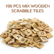 100 Wooden Mix Scrabble Tiles Black Letters Numbers For Crafts Wood Alphabets UK