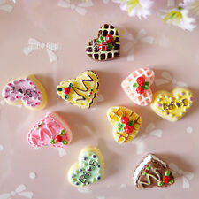 Novelry 5Pcs Resin Heart Shape Cake Food Mobile Phone Jewelry DIY Embellishments