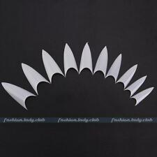 New Box 500 Stiletto Point White Natural Artificial False Acrylic Nail Art Tips