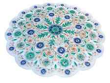 White Marble Round Plate Rare Inlay Micro Mosaic Floral Fine Art Home Deco H2716