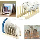 Wooden Plate Stand Wood 7 Dish Rack Pots Cups Display Drainer Holder Kitchen New