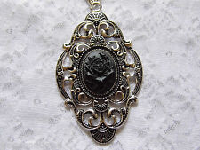 #JRK902 Black Gothic Rose Victorian Necklace Pendant Morbid Silver Mourning