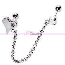 Jewelry Ear Studs Helix Cartilage Barbell Chain Crystal Heart Piercing Gift