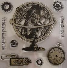 ~ Chronology ~ 9pc Steampunk Unmounted CLEAR STAMP Scrapbook Cardmaking Stamping