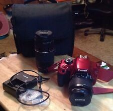 Canon EOS Rebel T5 18 MP Digital SLR Camera, RED W/ Case And 2 Lenses. NO RES !!