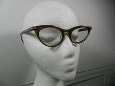 Mid Century 1950s vtg Jason Cat Eye metal glasses golden accents clear lenses