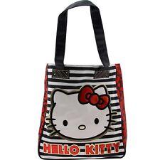 Hello Kitty Stripe Bows Tote Bag (black / red / white)