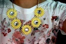 Charm Yellow Crystal Rhinestone Daisy Flowers Bib Statement Chunky Gold Necklace