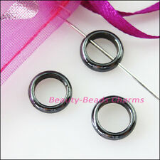 15Pcs Round Flat Black Hematite Gemstone Spacer Beads Frame Charms 10mm