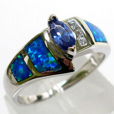 OUTSTANDING TANZANITE BLUE OPAL 925 STERLING SILVER RING SIZE 6