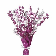 "16"" Happy 80th Birthday Pink Sparkle Foil Weight Table Centerpiece Decoration"