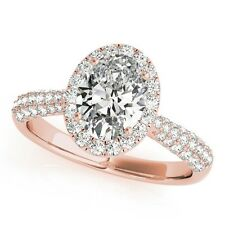 1.25ct Forever One Moissanite 14K Rose Gold Oval Micro Pave Halo Wedding Ring