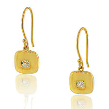Sterling Silver Yellow Gold Square White Crystal CZ Womens Dangle Earrings