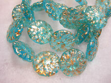 10 14mm Czech Glass Aqua Gold wash Dahlia Flower Coin Beads