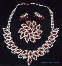 Vintage WEISS Red Rhinestone Silver Necklace Pin & Clip Earrings