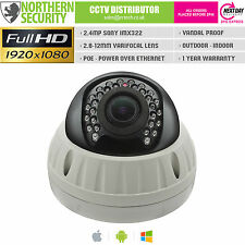 Sony IMX 2mp 2.8-12mm 1080p POE p2p 25m VANDAL PROOF DOME CCTV telecamera di rete IP