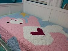 Care Bear Heart Pink BLANKET AFGHAN CROCHET  Twin Bed  74 x 54