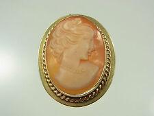 Schöner Kamee Anhänger / Brosche 585 Gelbgold mit schöner antiker Frauenansicht