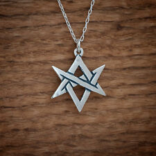 Handcast 925 Sterling Silver Unicursal Hexagram Pendant FREE Cable Link Chain