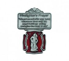Visor Clip St. Florian Firefighter Medal Enameled & Prayer Silver Pewter Clip